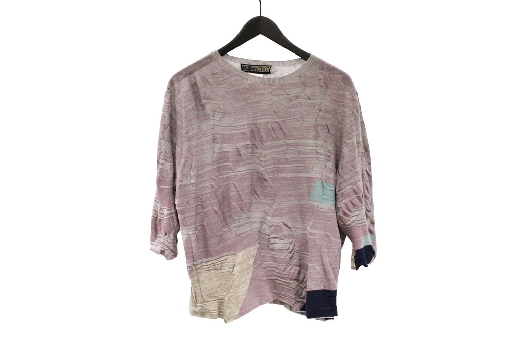 M&Kyoko Lavender Short Pleated Knit Top