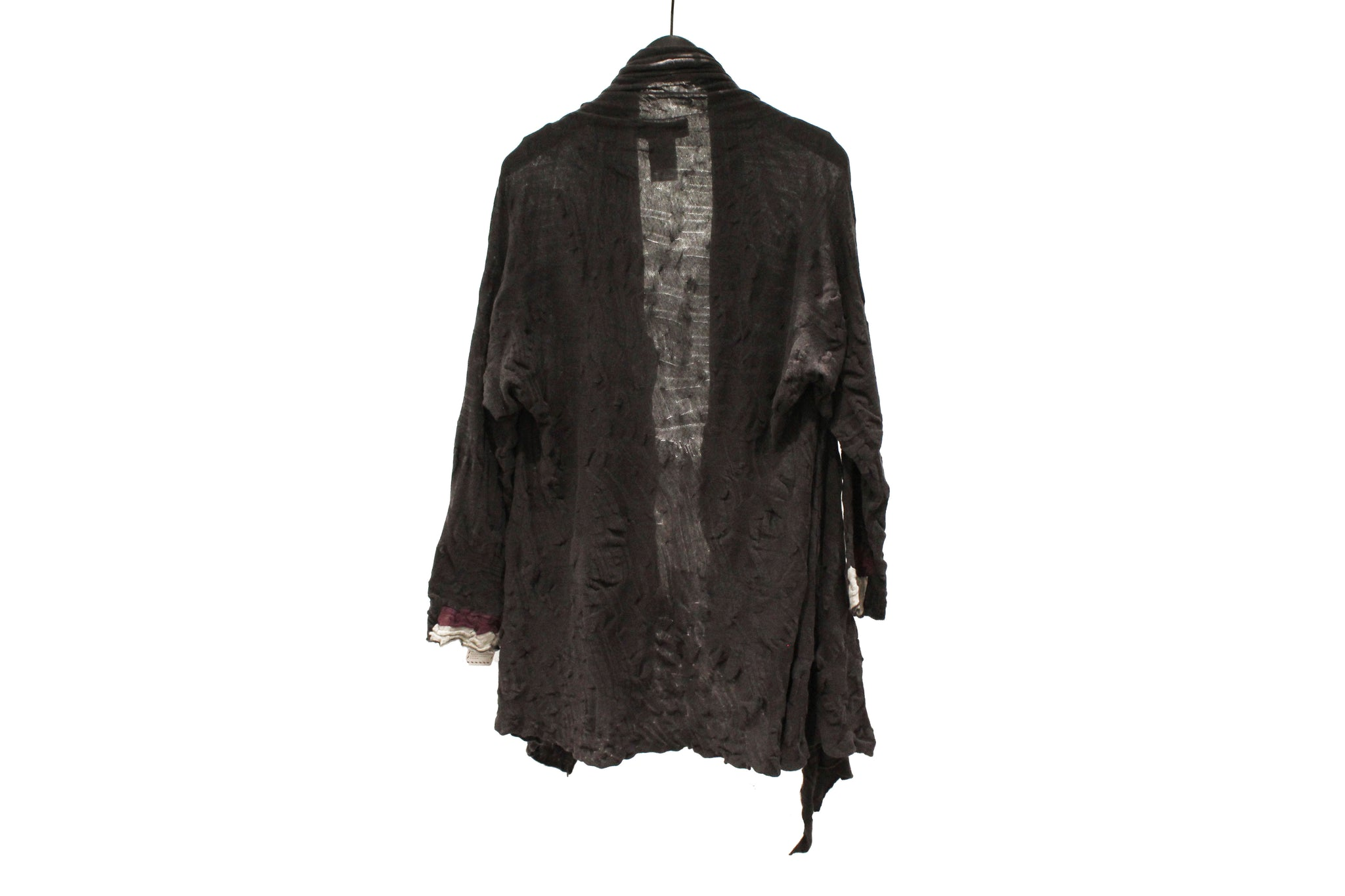 M&Kyoko Charcoal grey Long Pleated Knit Cardigan