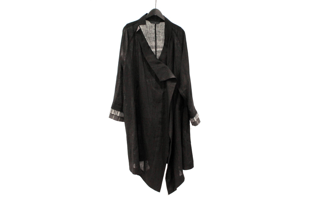 Moyuru Black Linen Lightweight Coat