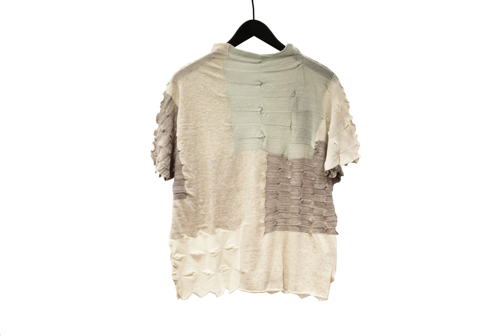 M&Kyoko Beige and Brown Pleated Knit Top