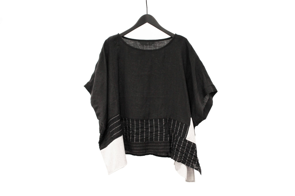 Moyuru Black Patchwork Top