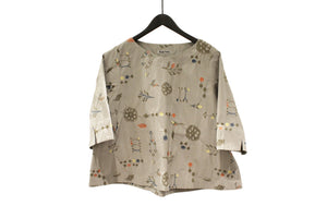 M&Kyoko Beige Embroidered Top