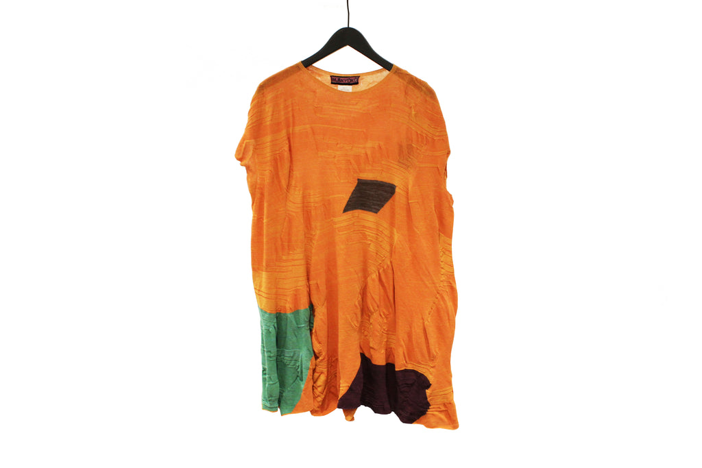M&Kyoko Orange Long Pleated Knit Top
