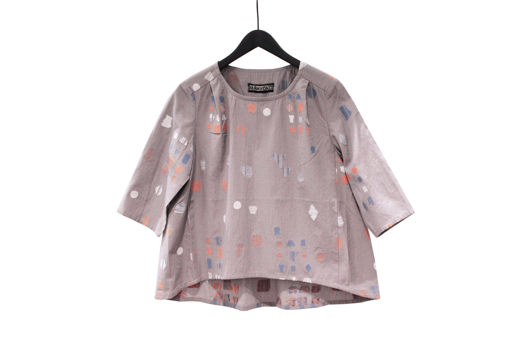 M&Kyoko Grey Embroidered Top
