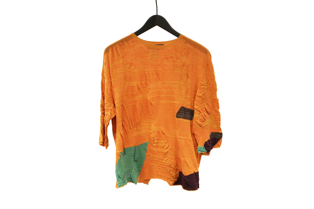 M&Kyoko Orange Short Pleated Knit Top