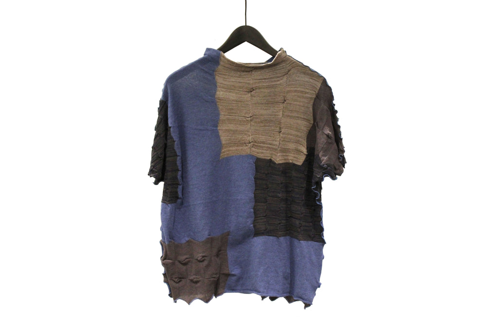 M&Kyoko Blue and Brown Pleated Knit Top