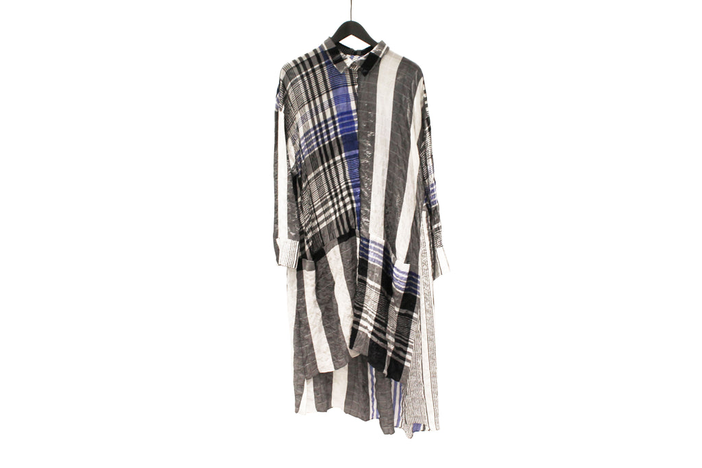 Mefu Blue & White Checkered Shirt Dress