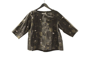 M&Kyoko Brown Embroidered Top