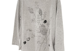 JI-U Grey Meringue Scribble T-shirt