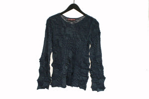 M&Kyoko Navy Textured Knitted Top