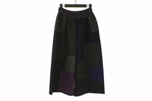 Fuga Fuga Purple & Blue Block Pattern Wide Leg Trousers