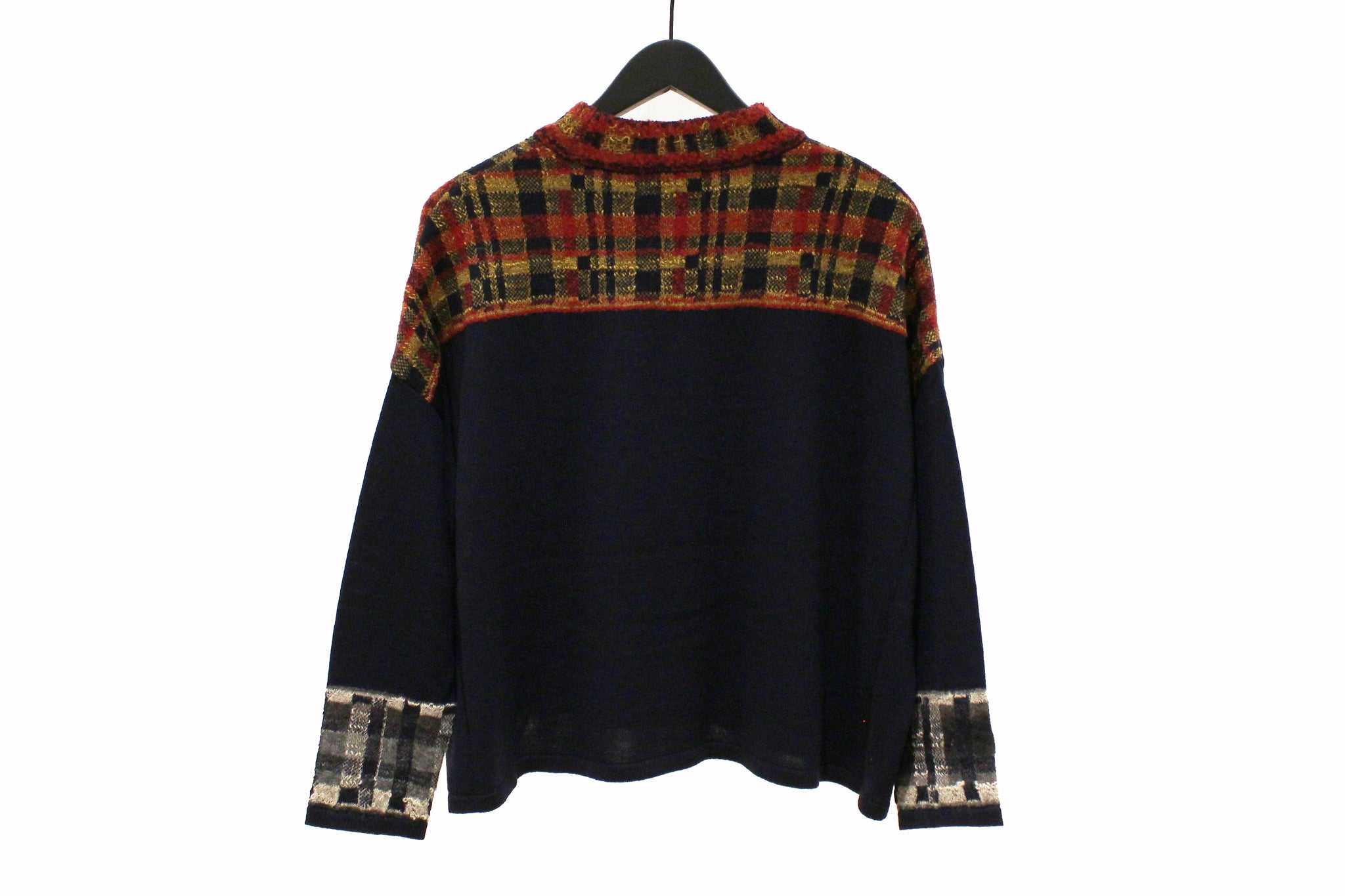M&Kyoko Navy and Multicolour Check Pullover