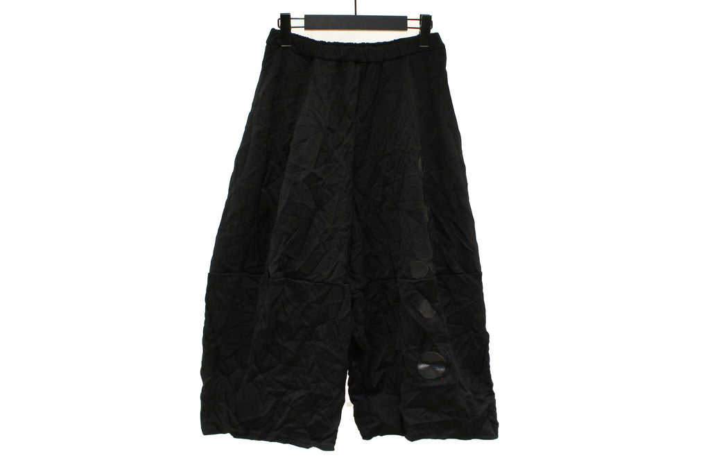 JI-U Black Cocoon Crinkled Trousers