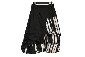 Mefu Black & White Striped A-Line Gathered Skirt