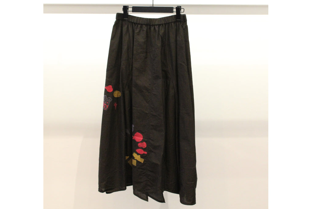 JI-U Brown Skirt with Red and Mustard Motifs