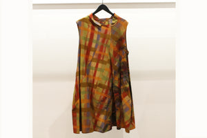 JI-U Orange & Yellow Check Panelled Sleeveless Tunic