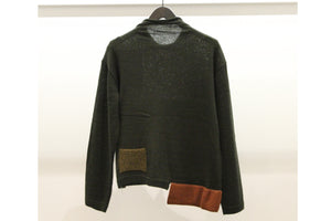 JI-U Khaki Loose Mock Neck Jumper