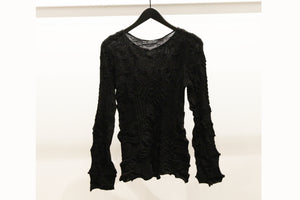 M&Kyoko Black Textured Knitted Top