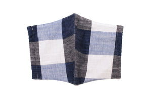 JI-U Blue & White Gingham Check Reusable Face Mask