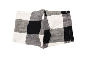 JI-U Black & White Gingham Check Reusable Face Mask