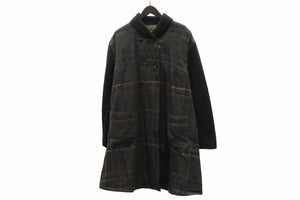 M&Kyoko Black Check Long Coat
