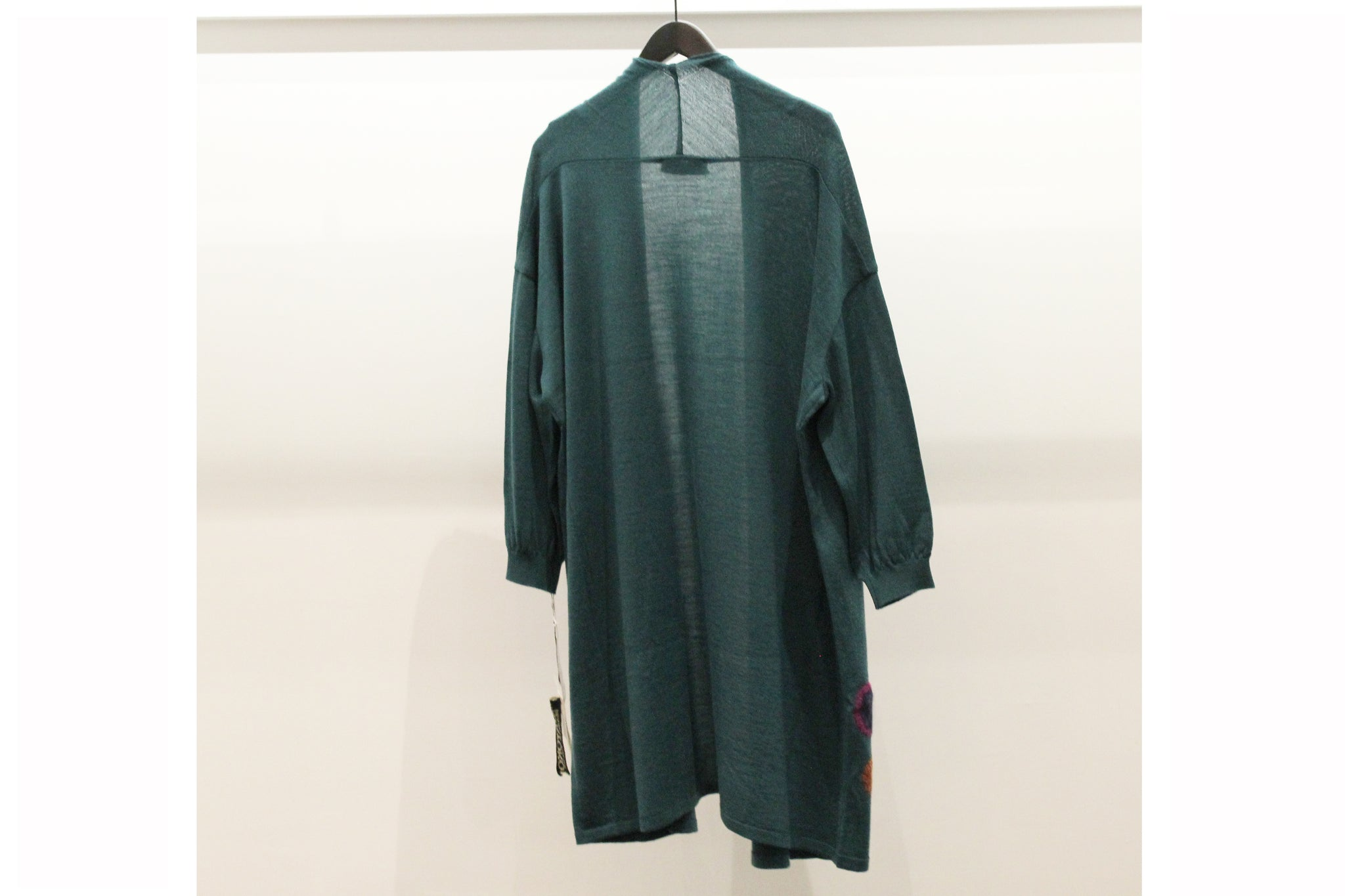 M&Kyoko Teal Dotted Long Open Cardigan