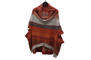 Moyuru Red Knitted Striped Oversized Top