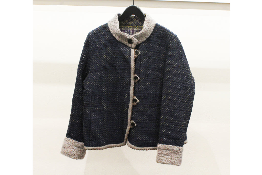 M&Kyoko Navy Textured Dotted Jacket