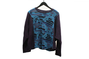 M&Kyoko Blue Textured Floral Pullover