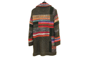 M&Kyoko Khaki Multicoloured Knitted Coat