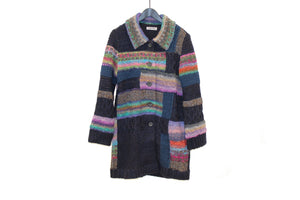 M&Kyoko Navy Multicoloured Knitted Coat