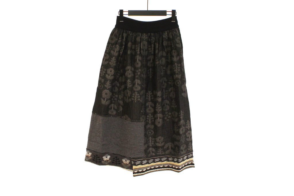 M&Kyoko Reversible Black Floral Skirt