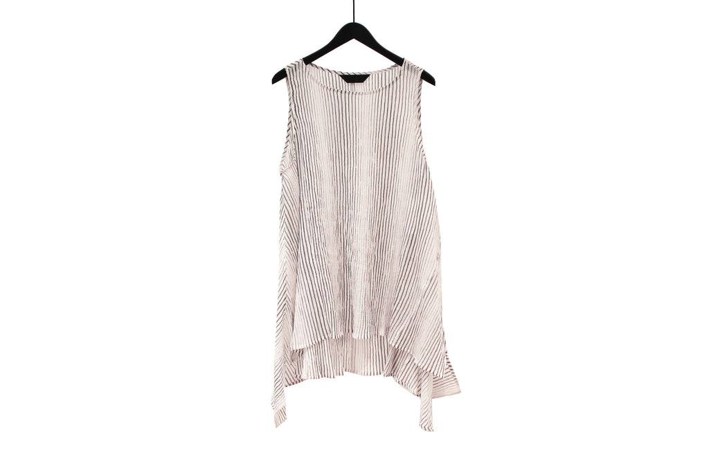 Moyuru White Sleeveless Striped Top