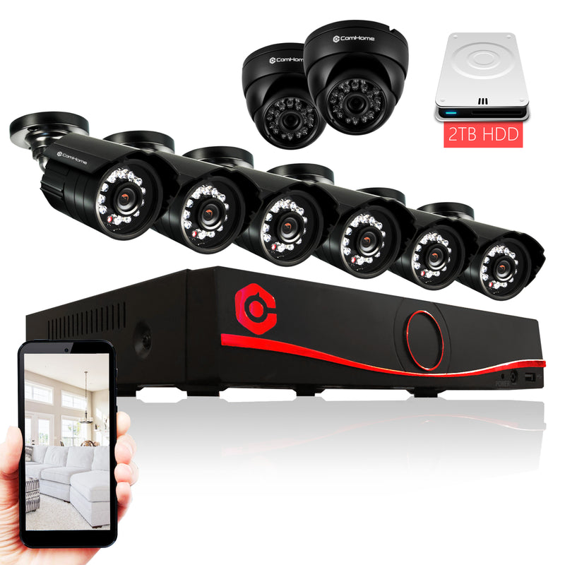 CamHome 8-Channel HD 1080p Wired Home Security Camera Set