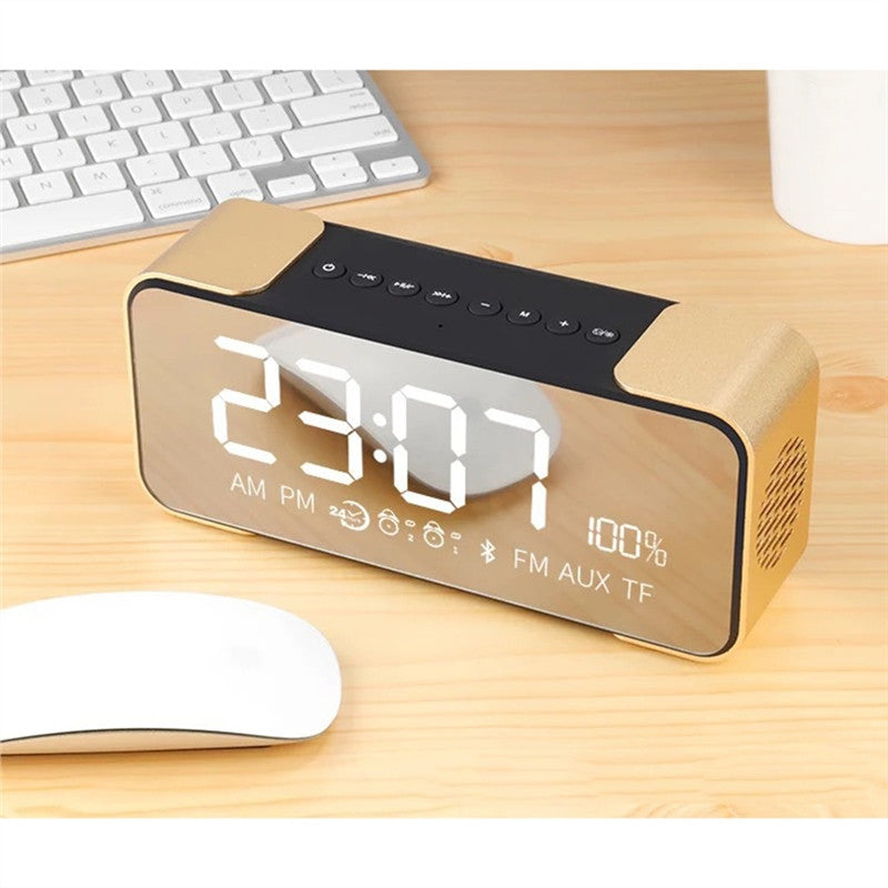 Polished Metal Bluetooth Alarm Clock & Speaker Combo with Dimmable LED Display [SD Card Supported] - CamHome