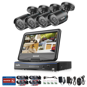 4CH 720P Indoor Outdoor Security Cameras System with 10.1 inch Monitor - CamHome