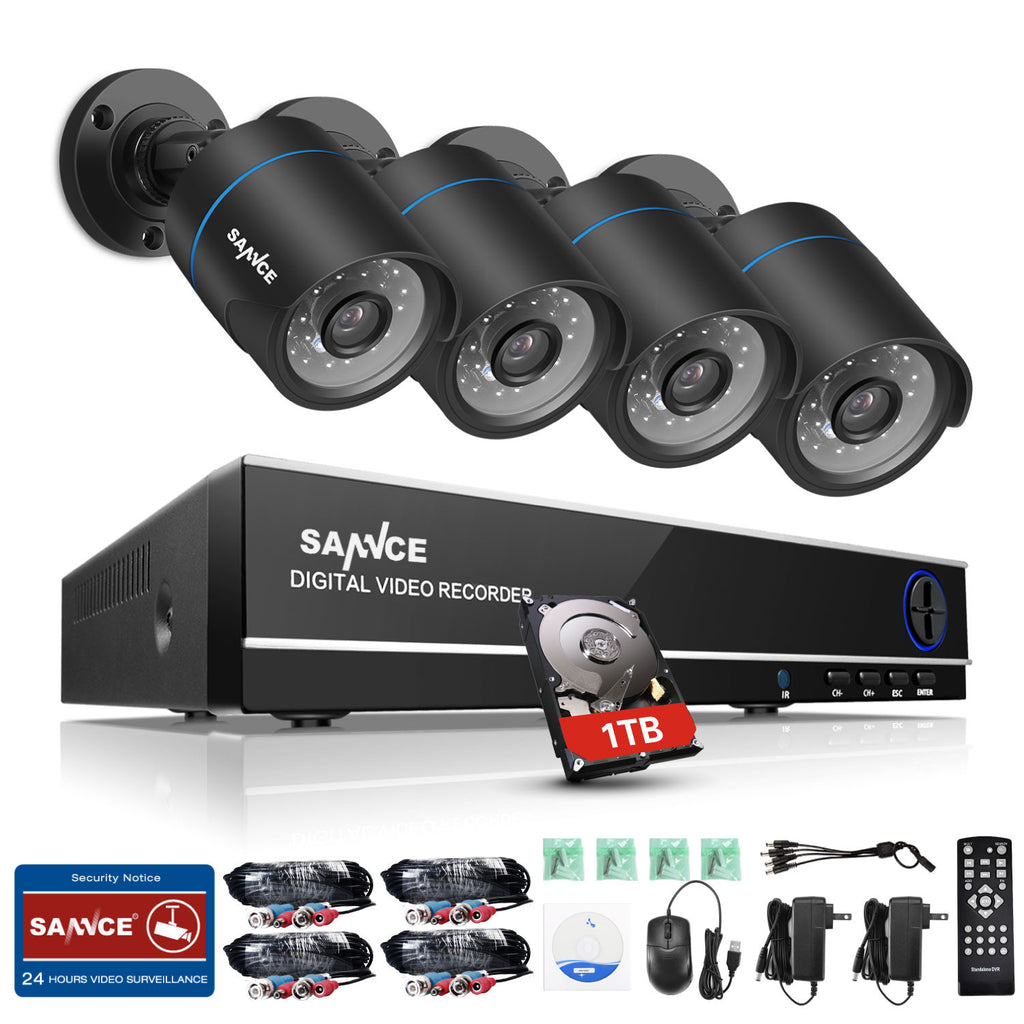 720P 4CH Home Video Security Cameras System with 1080N DVR - CamHome