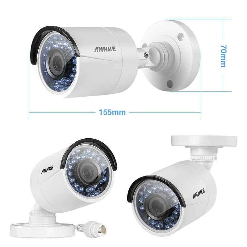 960P 4 Channel sPOE  Indoor Outdoor Night Vision Security Cameras System - CamHome