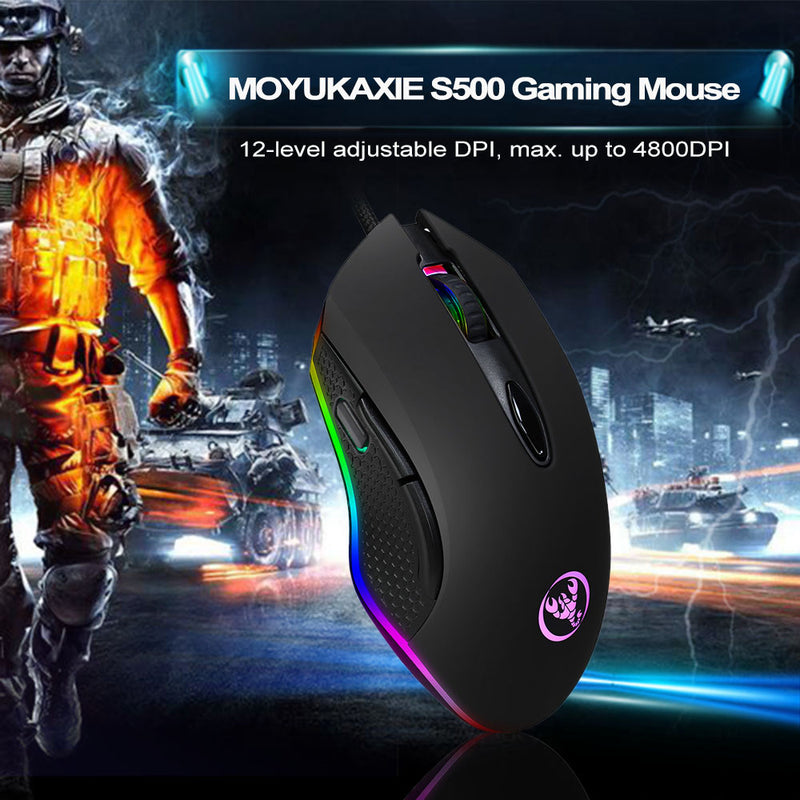 MOYUKAXIE S500 Mouse: USB Wired, Mechanical Mouse, Max. 4800 DPI, Programming 6 Buttons, Breathing LED - CamHome