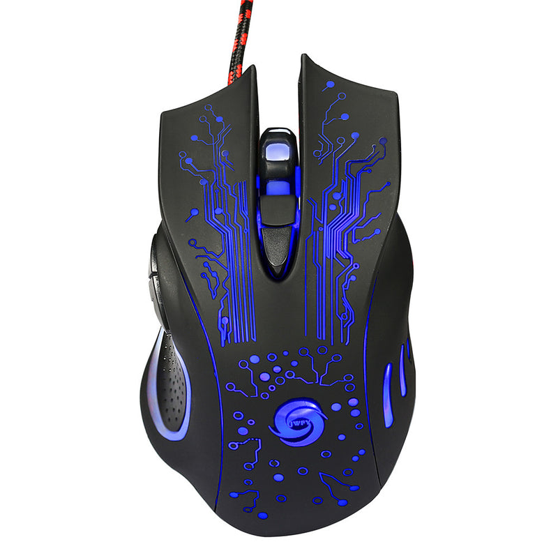 Professional USB Wired Optical Mouse with Adjustable 5 Levels DPI 5500, 6 Buttons, LED Light - CamHome