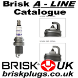 Brisk Spark Plugs, A Line, Platinum plugs, model range, catalogue, chart