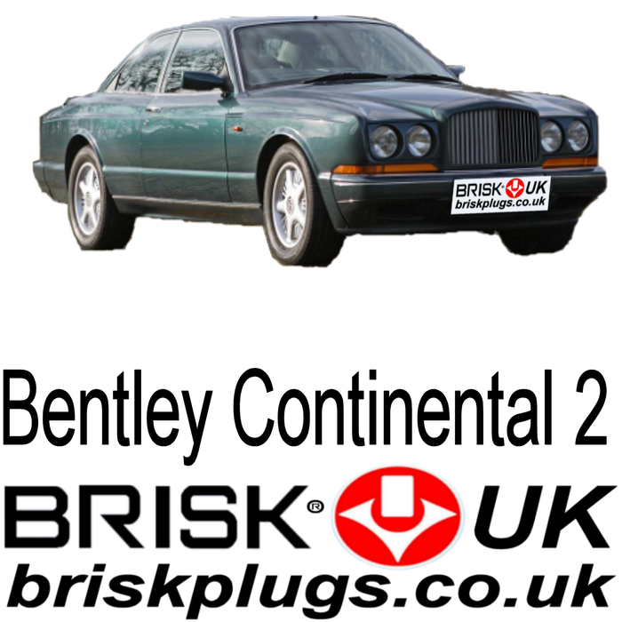 Bentley Continental 2 Spark Plugs 6.75 89-99 Brisk Performance & LPG