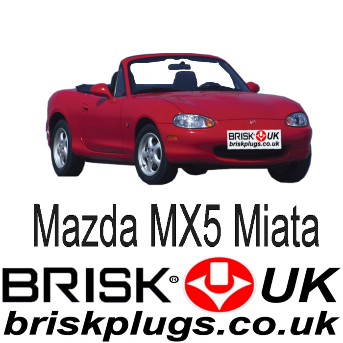Mazda MX5 Eunos Miata 1.6 1.8 Turbo 98-06 Brisk Spark Plugs Racing