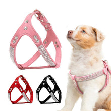Load image into Gallery viewer, Soft Suede Leather Puppy Dog Harness Rhinestone Pet Cat Vest