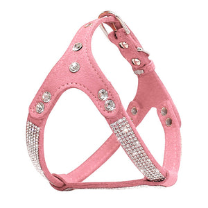 Soft Suede Leather Puppy Dog Harness Rhinestone Pet Cat Vest