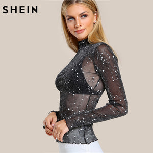 Black High Neck Elegant Slim Blouse Top