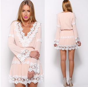 Autumn New Lady V-neck Lace Ruffles Floral Dresses