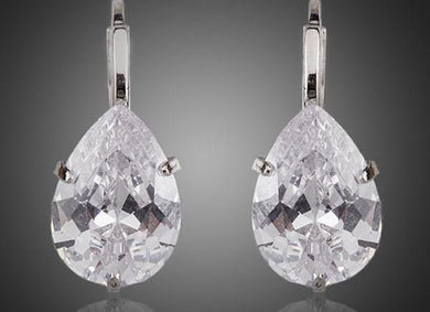 Design Pear Cut Clear Cubic Zirconia Water Drop Earrings TE0158