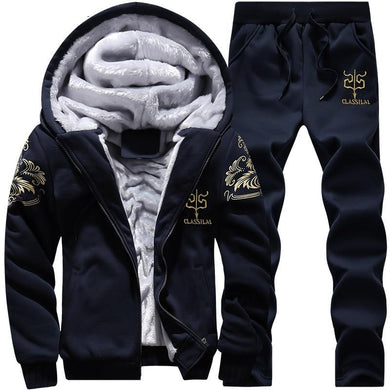 Men Tracksuit Set Winter Fleece Hood Jacket Pants