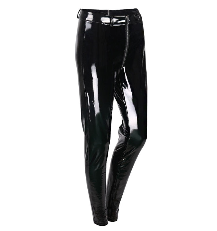 Spring Lady Back Zipper Leather Pants